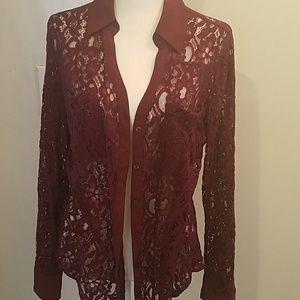 Express lace button down shirt